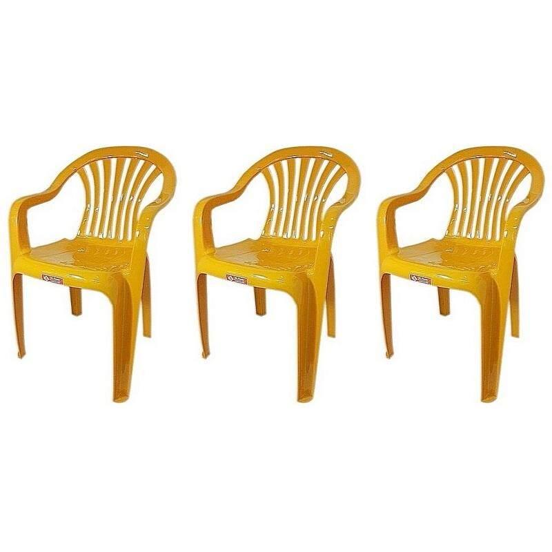 เช่าเก้าอี้ กรุงเทพ เก้าอี้สนาม มีพนักพิง และ ที่เท้าแขน รุ่น 999 สีเหลือง  แพ็ค3ตัว
