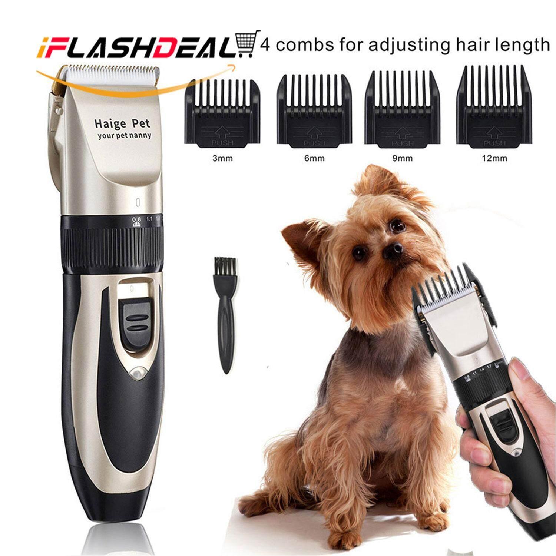 Iflashdeal ปัตเลี่ยนตัดขนสุนัข ไร้สาย ใบมีดแสตนเลสผส Pet Cat Dog Hair Trimmer Grooming Kit Electric Clippers By Iflashdeal.