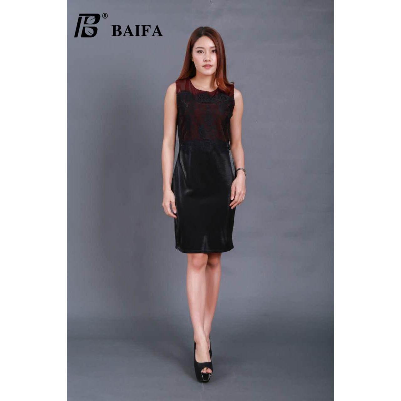 ราคา Baifa Shopชุดเดรส สีดำ แต่งผ้าทับกัน แข่งสั้นผ้าลูกไม้ผ่าข้างแต่งโบว์ 8200 Size อก 36 ยาว 37 ที่สุด