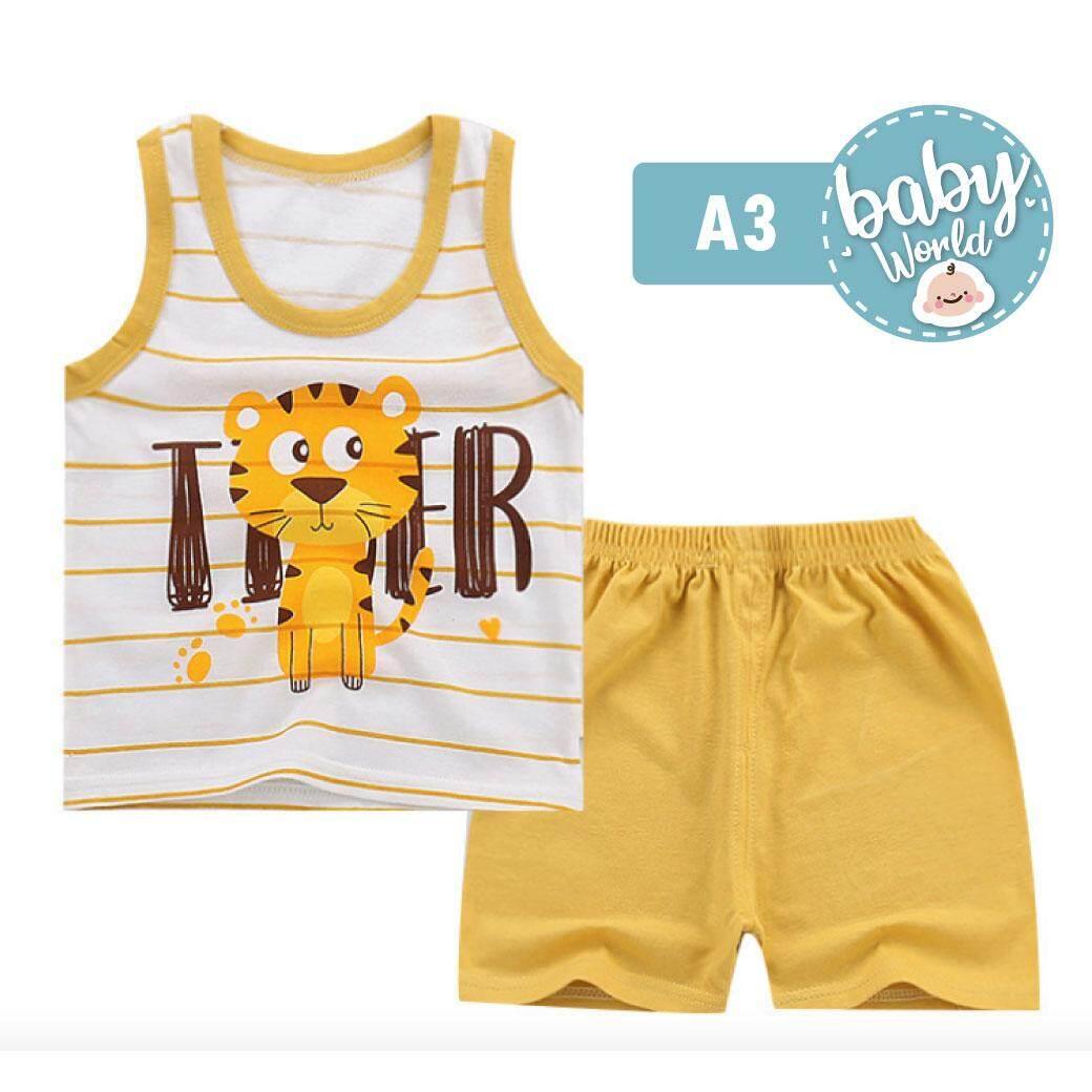 ❣️babyworld ชุดเสื้อผ้าเด็ก ชุดนอน เด็ก [ เสื้อ + กางเกงขาสั้น ] ไซส์ 80 -110cm/ 9เดือน-4ปี ใส่สบายเนื้อผ้า Cotton ราคาพิเศษ.