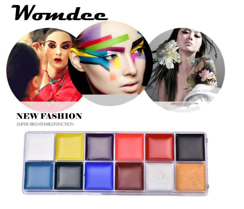 Womdee Face Painting Kits For Kids,12 Colors Non-Toxic Body Face Painting Kits Professional Painting Palette Kits For Halloween/christmas/dress-Up/costume Parties/carnivals/celebrations/cos-Plays/schools - Intl By Womdee.