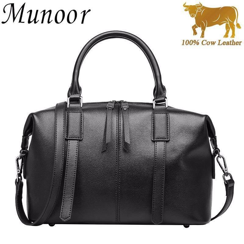 กระเป๋าถือ นักเรียน ผู้หญิง วัยรุ่น ยะลา Munoor Italian 100  Genuine Cow Leather Women Top handle Bags Fashionable Lady Shoulder Bags  Black    Int L   intl