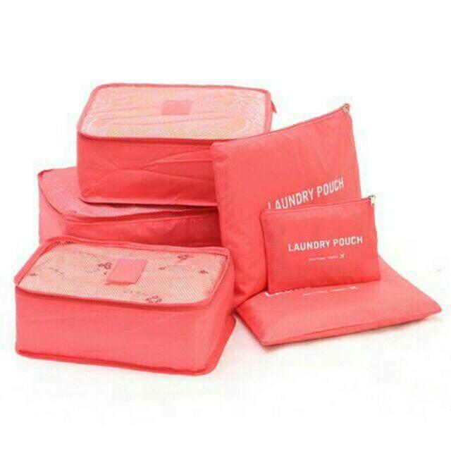 กระเป๋าจัดระเบียบเซต 6 ใบสุดคุ้ม มีให้เลือก 4 สี.