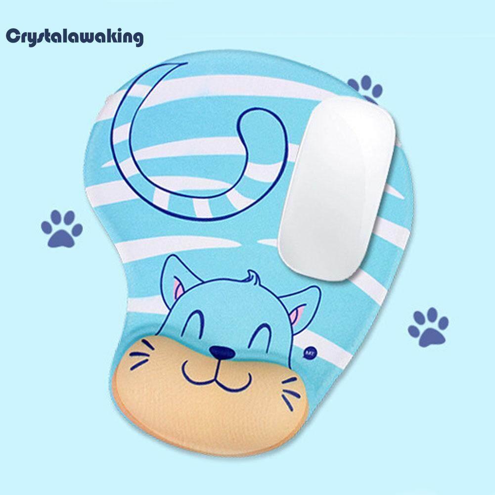ความต้านทานลื่นไถลหน่วยความจำโฟมข้อมือสะดวกสบายที่วางพักแผ่นรองเมาส์ Blue Cat.