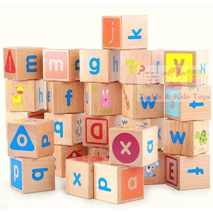 ราคา Todds Kids Toys ของเล่นไม้ เสริมพัฒนาการ บล็อคไม้ลูกเต๋า Abc พร้อมภาพเเละคำศัพท์ประกอบ Todds Kids Toys ใหม่