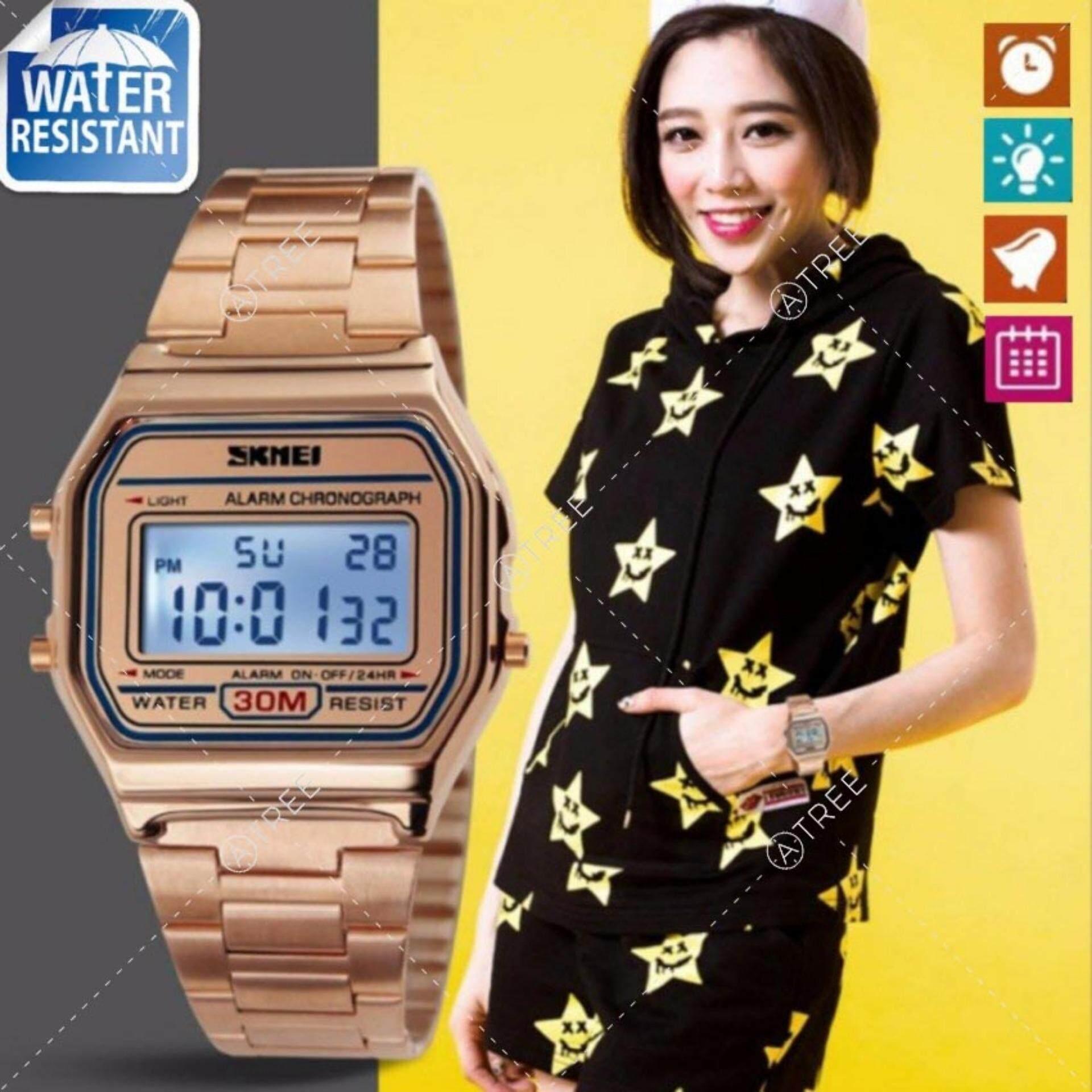 Skmei ของแท้ 100% ส่งในไทยไวแน่นอน นาฬิกาข้อมือผู้หญิง สไตล์ Casual Bussiness Watch จับเวลา ตั้งปลุกได้ ไฟ Led ส่องสว่าง สายแสตนเลส รุ่น Sk-M1123.