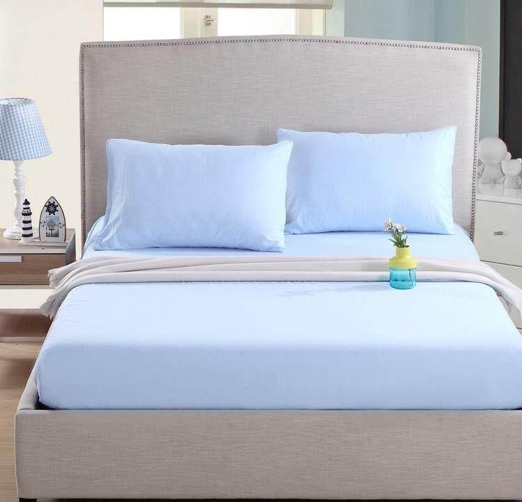 ผ้าปูที่นอนผ้าคอตตอนผสม 7 ฟุตสี ฟ้าอ่อน.