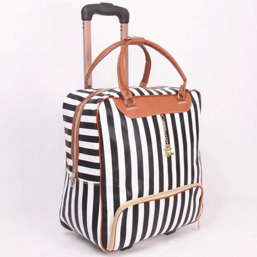 กระเป๋าเดินทาง กระเป๋าลาก กระเป๋าเดินทางใบเล็ก กระเป๋าเดินทางล้อลาก กระเป๋าเดินทางราคาถูก กระเป๋าเดินทางลดราคา ซื้อกระเป๋าเดินทาง กระเป๋าล้อลาก กระเป๋าเดินทางราคา กระเป๋าล้อลากราคาถูก Travel Bag ลายทาง กระเป๋าเดินทางยี่ห้อไหนดี รุ่น Lt-0003 (สีขาว/ดำ).