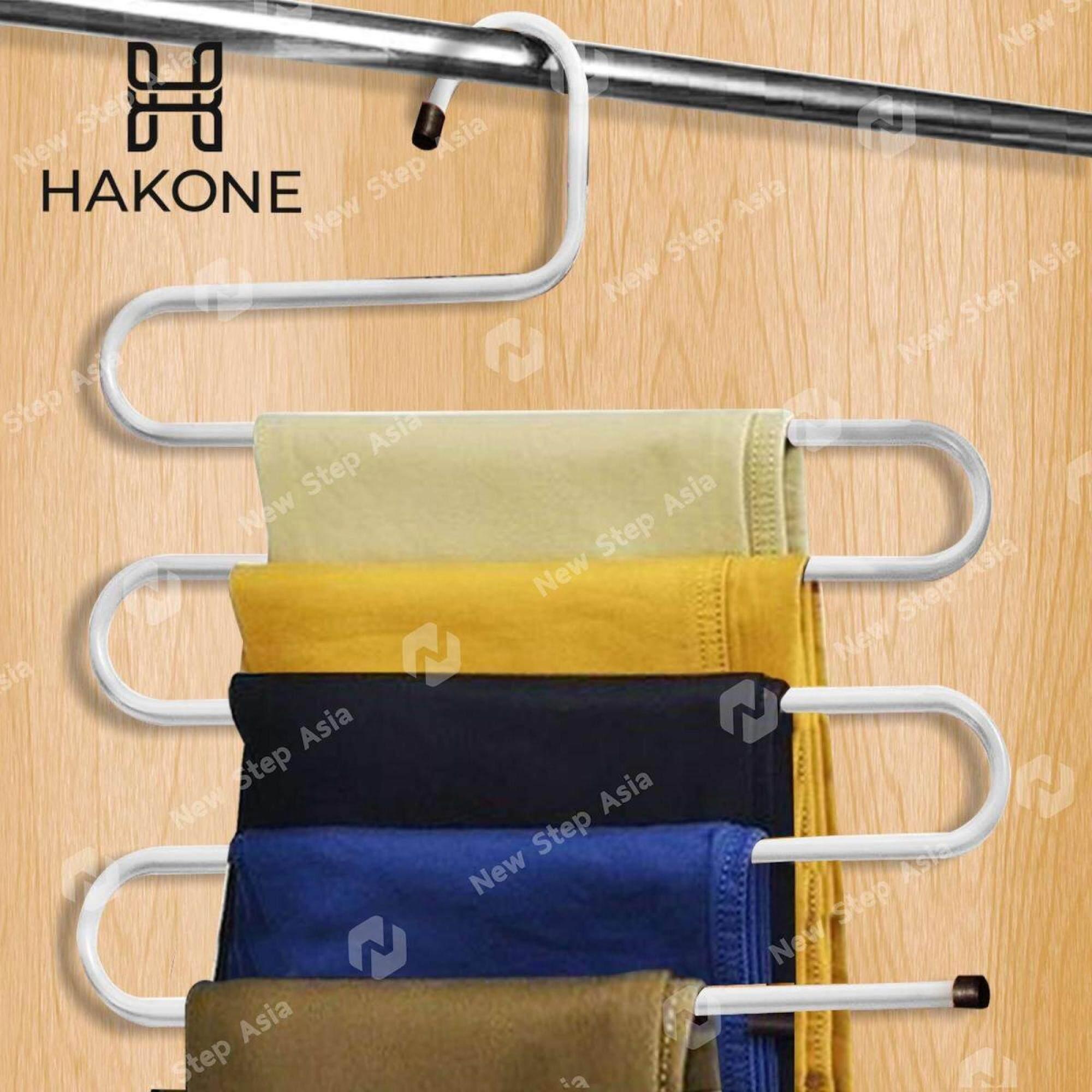 Hakone ไม้แขวนกางเกง ที่แขวนกางเกง 5 ตัว ประหยัดพื้นที่ ภายในตู้เสื้อผ้า ไม้แขวน ไม้แขวนเสื้อ ไม้แขวนผ้า แขวนผ้าพันคอ แขวนเข็มขัด เนคไท Trousers Hanger New Step Asia.