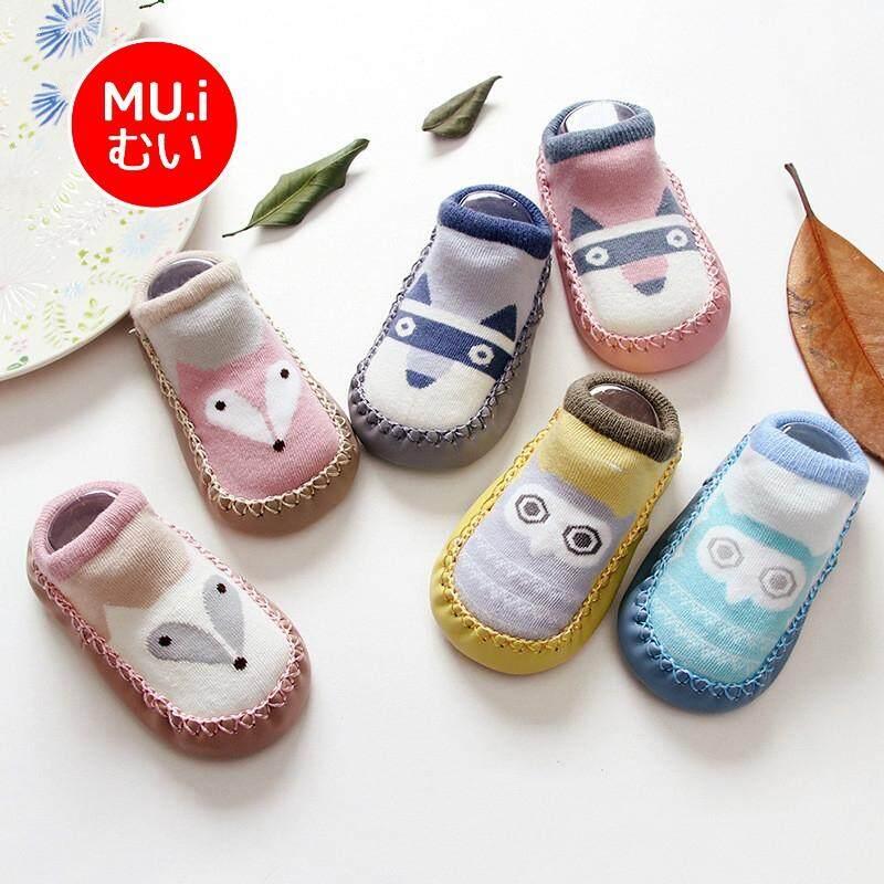 Muisungshop ถุงเท้าเด็กหัดเดิน รองเท้าเด็ก รองเท้าพื้นนุ่ม สำหรับเด็กลายแรคคูน นกฮูก และจิ้งจอก มีกันลื่น By Muisungshop.