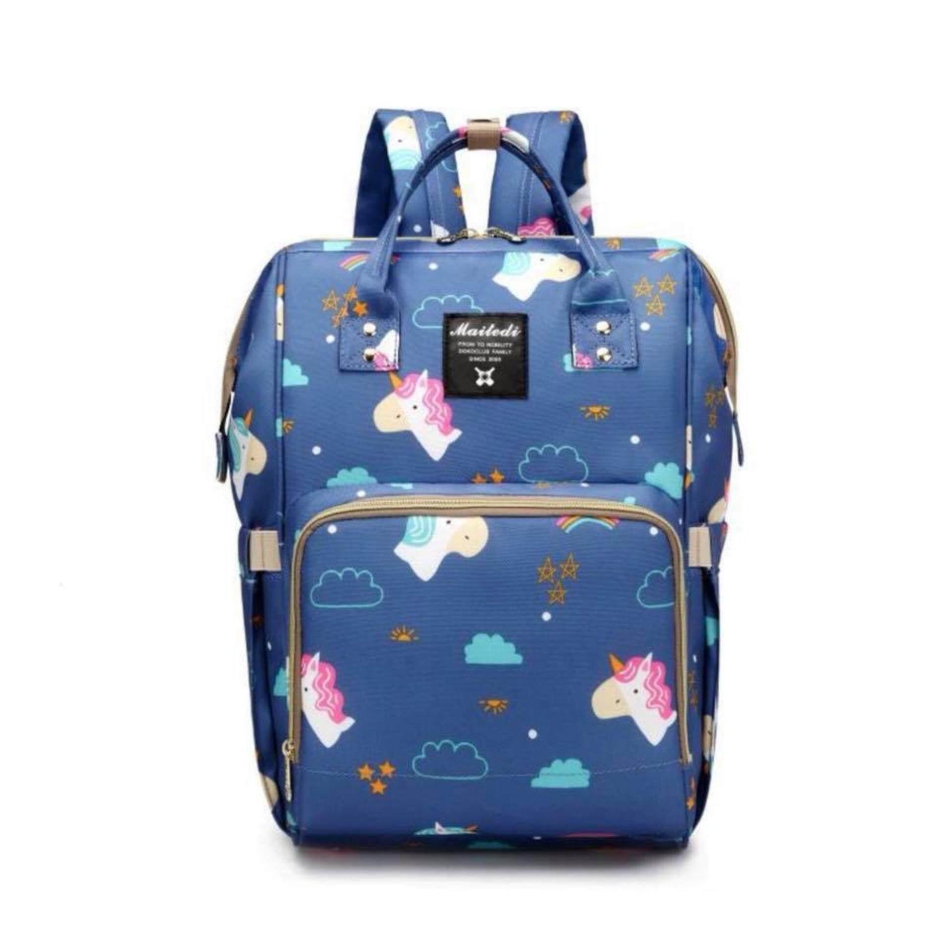 กระเป๋าคุณแม่ใส่ขวดนมเก็บสัมภาระแม่และเด็ก ใบใหญ่มีสายสะพายหลัง(ลายม้ายูนิคอน).