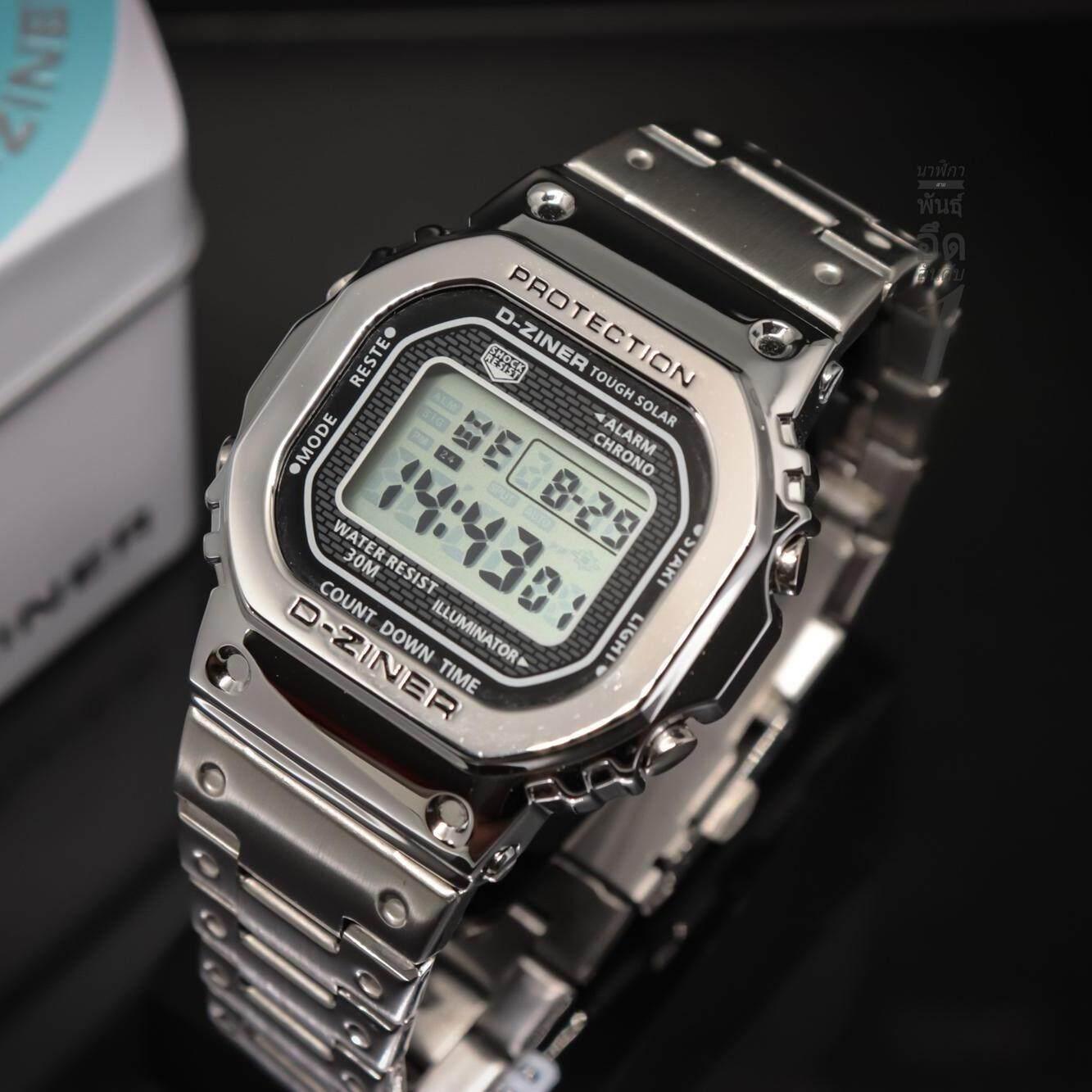 นาฬิกา D Ziner รุ่นใหม่ล่าสุด สไตล์ G Shock สุดฮิต ที่กำลังนิยมในขณะนี้ ( สีเงิน) สินค้าของแท้ 100%.