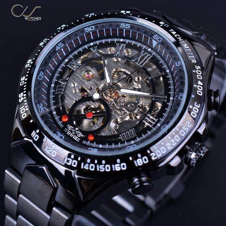 โปรโมชั่น Winner นาฬิกาข้อมือผู้ชาย สายสแตนเลสดำ ระบบกลไกแบบออโตเมติก Skeleton Bezel W019 Winner ใหม่ล่าสุด