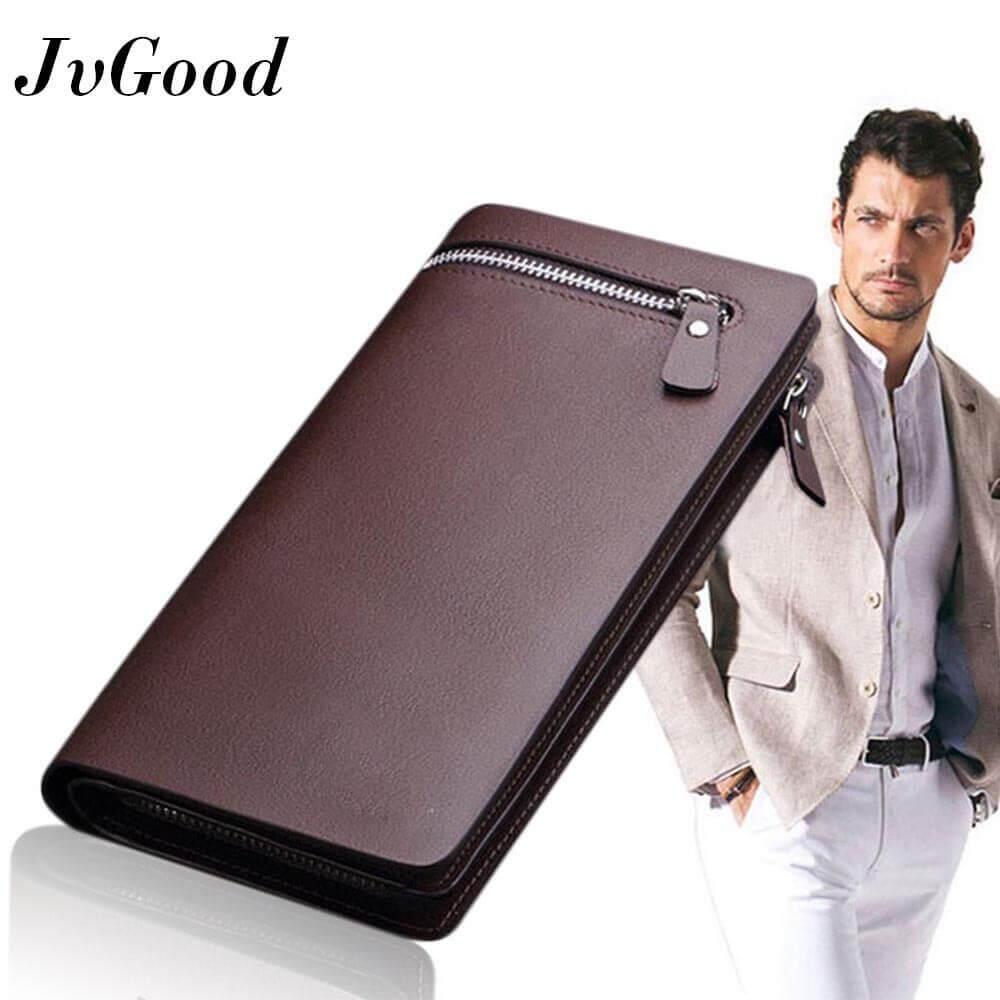 ราคา Jvgood ธุรกิจผู้ชายกระเป๋าสตางค์ของแข็ง Pu หนังกระเป๋าสตางค์ยาว Bifold กระเป๋าสตางค์แบบพกพากระเป๋าสตางค์ Zipper กระเป๋าคลัทช์ชาย สีน้ำตาล Jvgood จีน