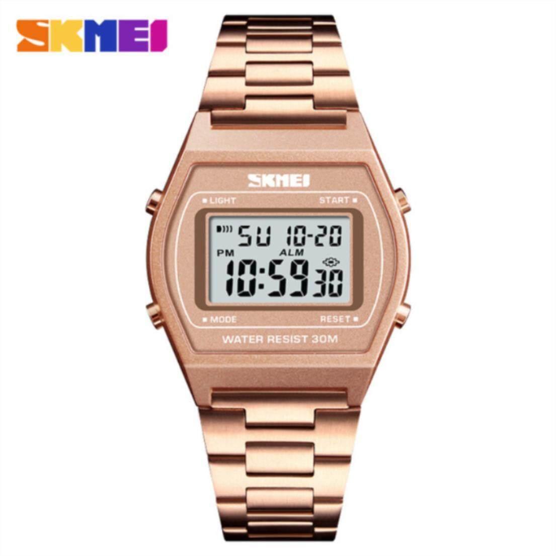 Skmei 1328 ของแท้ 100% ส่งในไทยไวแน่นอน นาฬิกาข้อมือผู้หญิงผู้ชาย สไตล์ Casual Bussiness Watch จับเวลา ตั้งปลุกได้ ไฟ Led ส่องสว่าง Sk-M1328 By Lk Wow.