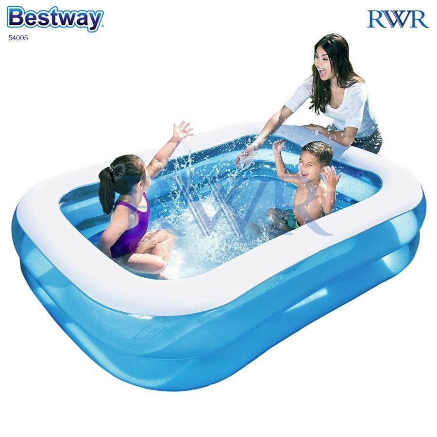Bestway สระน้ำ เป่าลม สี่เหลี่ยม สีฟ้า 2.01x1.50x0.51 ม. รุ่น 54005/57181 By Rwr.