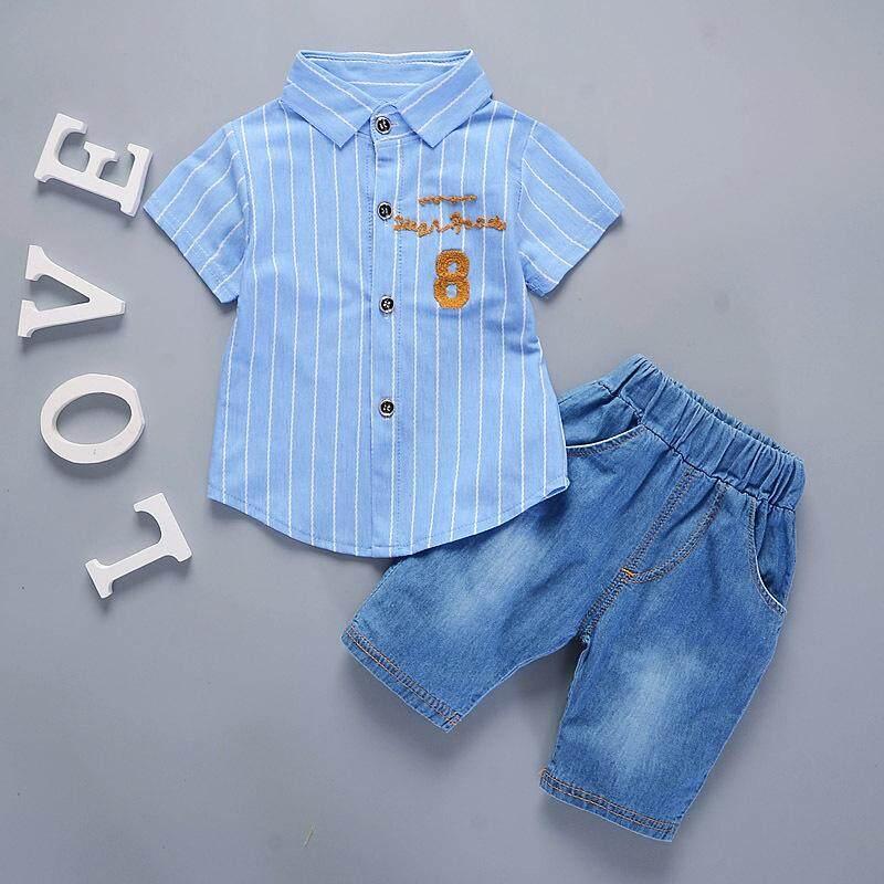 ฤดูร้อนชายแขนสั้นลายทาง + กางเกงยีนส์ขาสั้นชุดเด็กทารกเสื้อผ้า - Intl.