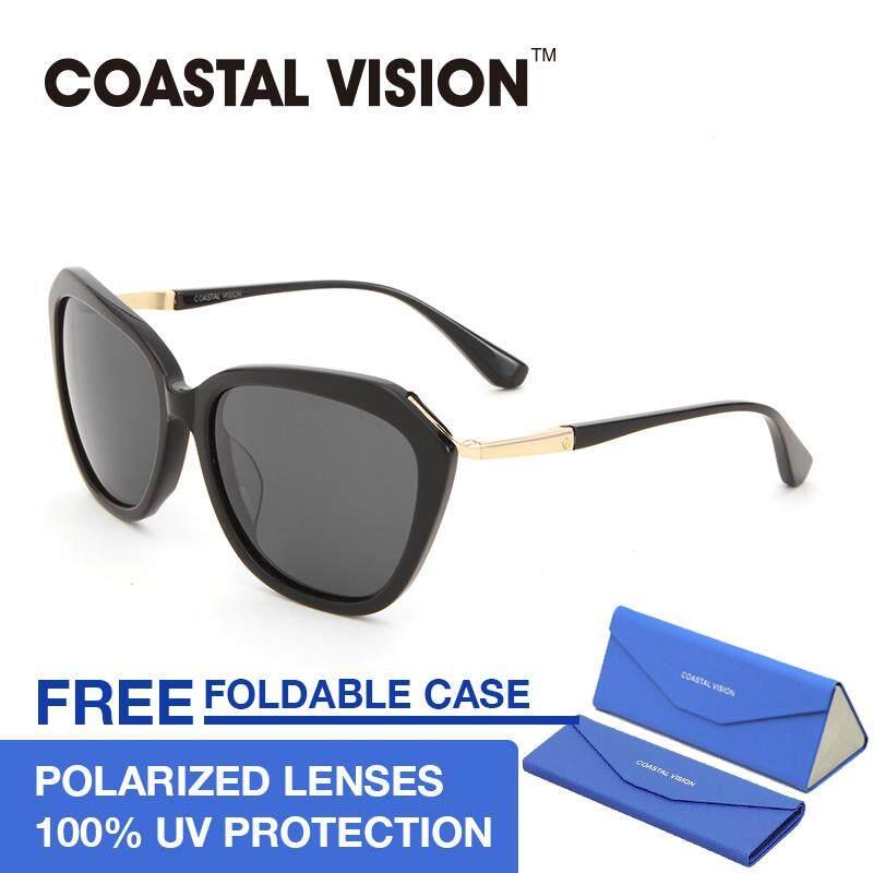 โปรโมชั่น Coastal Vision แว่นกันแดดสำหรับผู้หญิง กรอบทรงตาแมวสีดำ เลนส์ป้องกันรังสี Uva B Cvs5028 ฮ่องกง