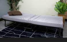 ETC เตียงเสริมพับได้ เตียงเหล็กพับได้ พร้อมเบาะรองนอน สีขาว-ดำ reinforce folding bed 3 ฟุต (มีล้อ)