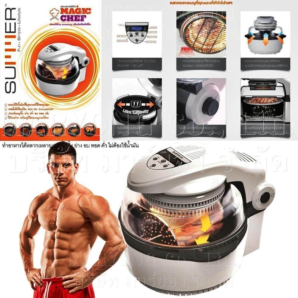 Summer Magic Chef หม้อทอดไร้น้ำมัน ทำอาหารได้หลายชนิด ไม่ต้องใช้น้ำมัน ลดไขมันสะสม 80 % ดีต่อสุขภาพ ขนาดความจุ ได้สูงสุด 11 ลิตร ระบบลมร้อน อาหารสุกทั่วถึงและดีต่อสุขภาพ ดีไซน์น่ารัก ใช้งานง่าย สะดวก By Supun.