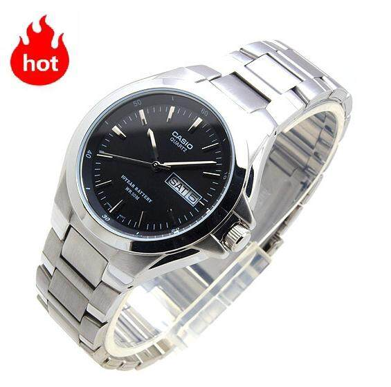 Casio Standard รุ่น MTP-1228D-1A นาฬิกาข้อมือผู้ชายสายแสตนเลสแท้ หน้าปัดดำ -มั่นใจ ของแท้ 100% ประกันศูนย์ 1 ปีเต็ม