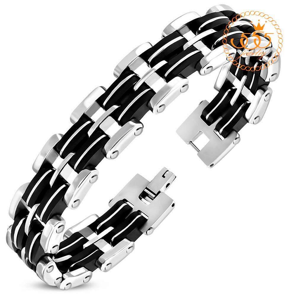 555jewelry สร้อยข้อมือลาย  2-tone Mens Panther Link รุ่น MNC-BR496 สร้อยข้อมือดีไซน์เรียบ สแตนเลสสตีล สร้อยข้อมือ สร้อยข้อมือคู่ กำไลข้อมือชาย ข้อมือสแตนเลส