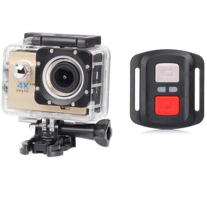 "ULTRA Action Camera H16R GOLD 4K Camera WiFi Full HD 16MP 2.0"" LCD Dual Screen  Sport Camera  Car DVR pro Action camera กล้องถ่ายวิดีโอ ความระเอียด 4K ถ่ายใต้น้ำได้"