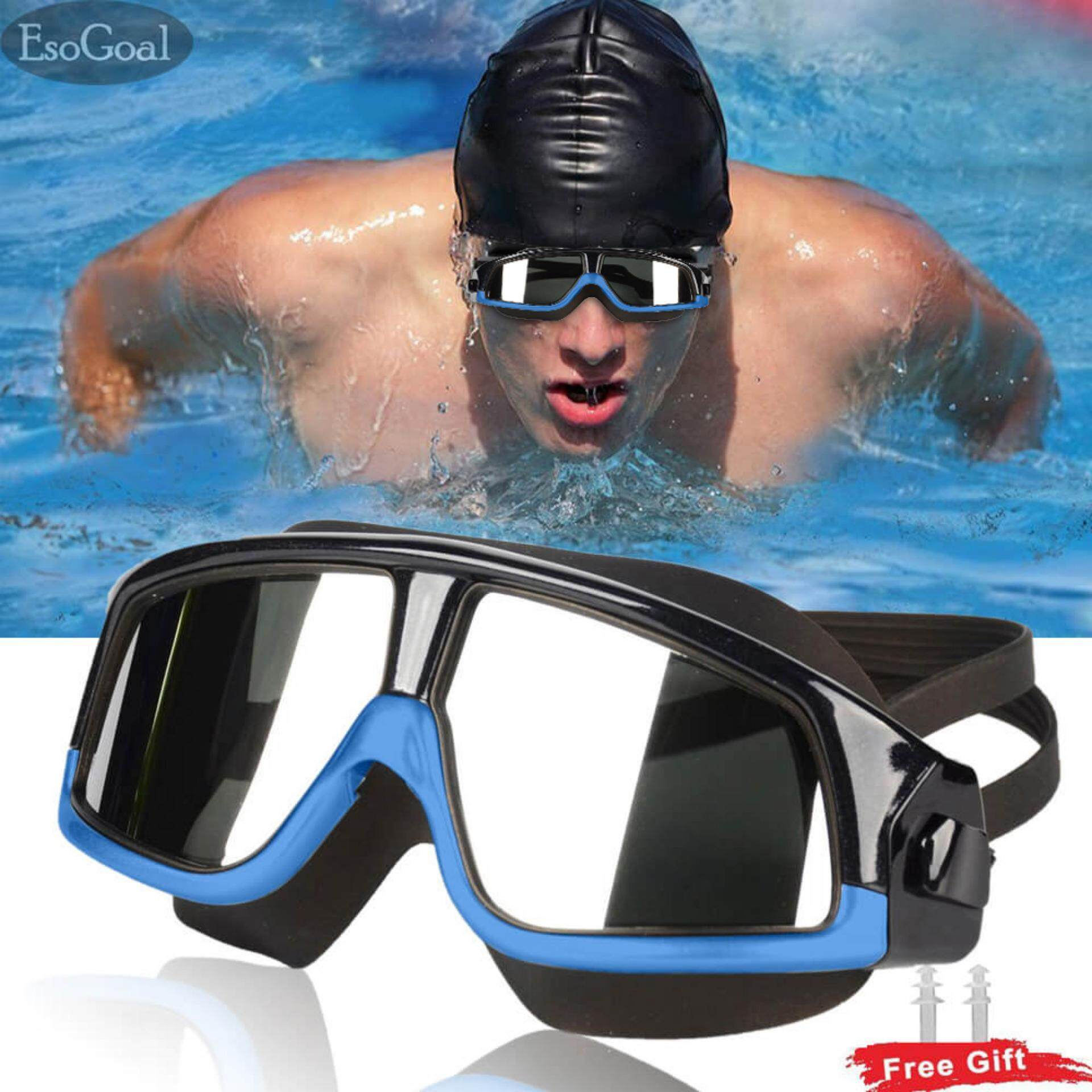 Esogoal Swimming Goggles, Premium Polarized Big Frame Competition Swim Goggles Clear Lens Wide-Vision Swimming Goggles No Leaking With Uv And Anti Fog Protection For Men Women Adult Youth With Free Case, Ear Plugs