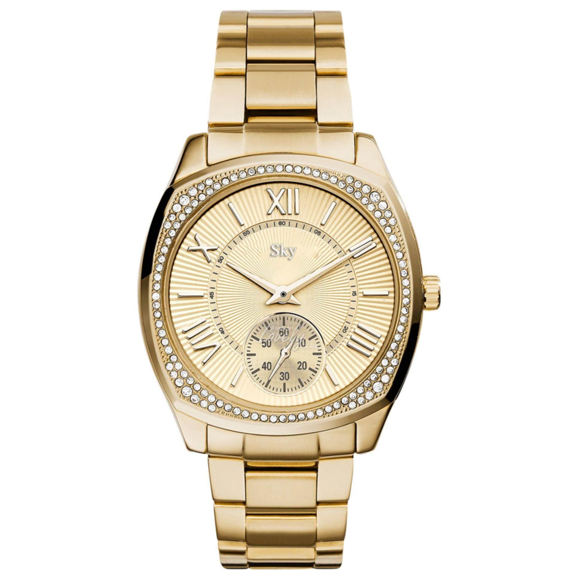 ราคา Sky นาฬิกาข้อมือ สายแสตนเลส หน้าปัดฝังเพชร สุดหรู ด้านในหน้าปัดดีไซน์สวย รุ่น Zd 0152 สีทอง Gold เป็นต้นฉบับ