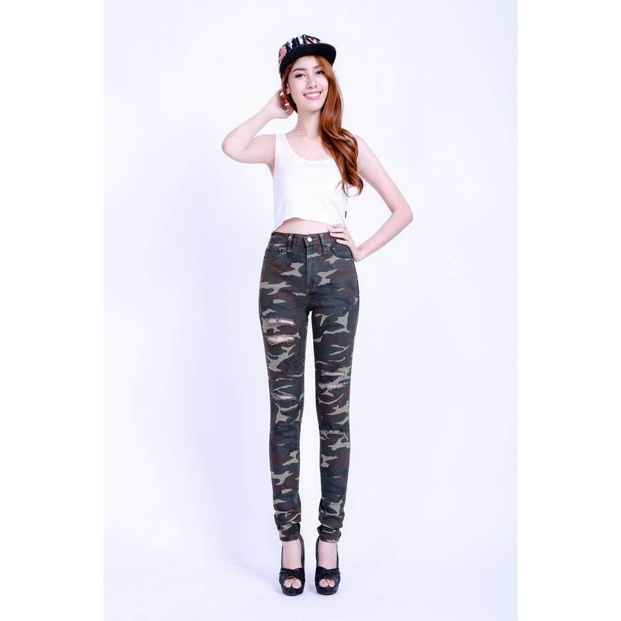 ซื้อ Eiffel Jeans กางเกงยีนส์ สกินนี่ เอวสูง ลายทหาร รุ่นตัดขาด Ehd05 C สีเขียว ออนไลน์