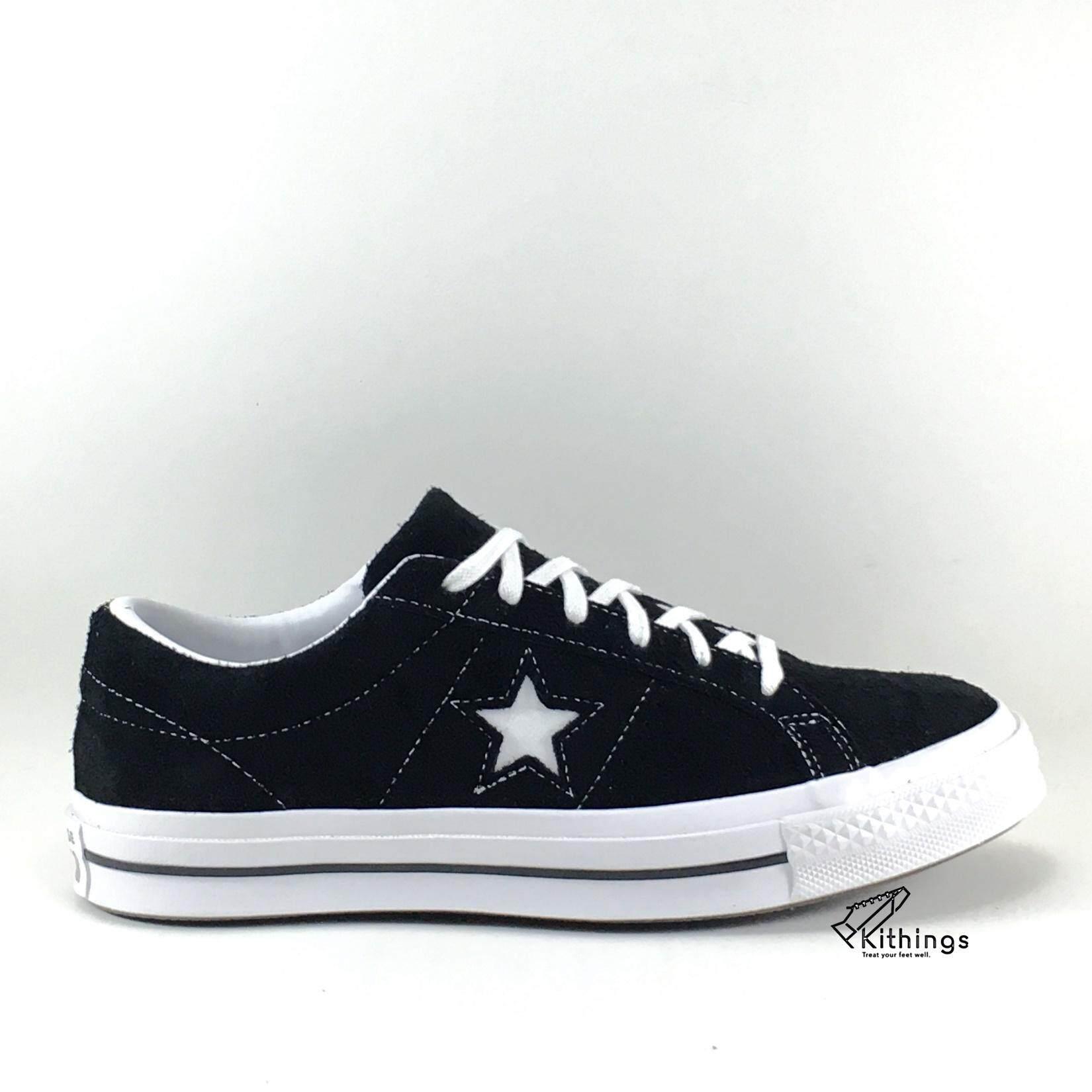 ตราด CONVERSE รองเท้าผ้าใบแฟชั่นรุ่น ONE STAR LEATHER SUEDE   black   สีดำ
