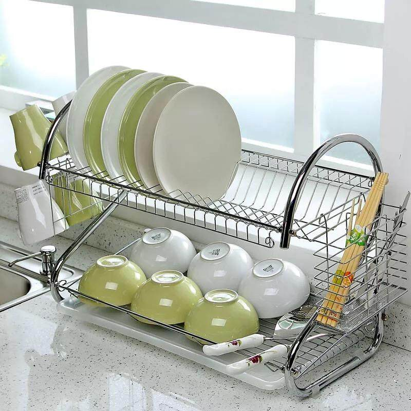 Best Hs ชั้นคว่ำจานสแตนเลสอเนกประสงค์ 2 ชั้น 2 Tiers S Shape Dish Cup Drying Rack (silver) By Ilovehome.