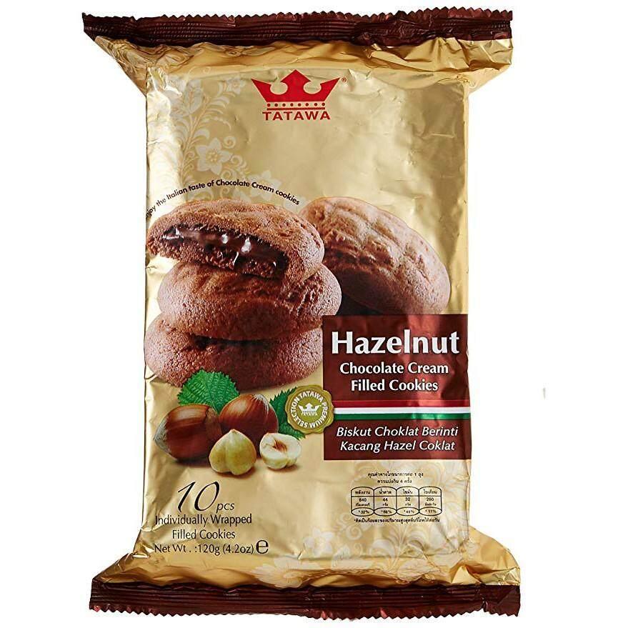 ขนมคุกกี้ช็อกโกแลตสอดไส้ครีมรสเฮเซลนัท ตราทาทาวา จากมาเลเซีย ขนาด 120 กรัม.