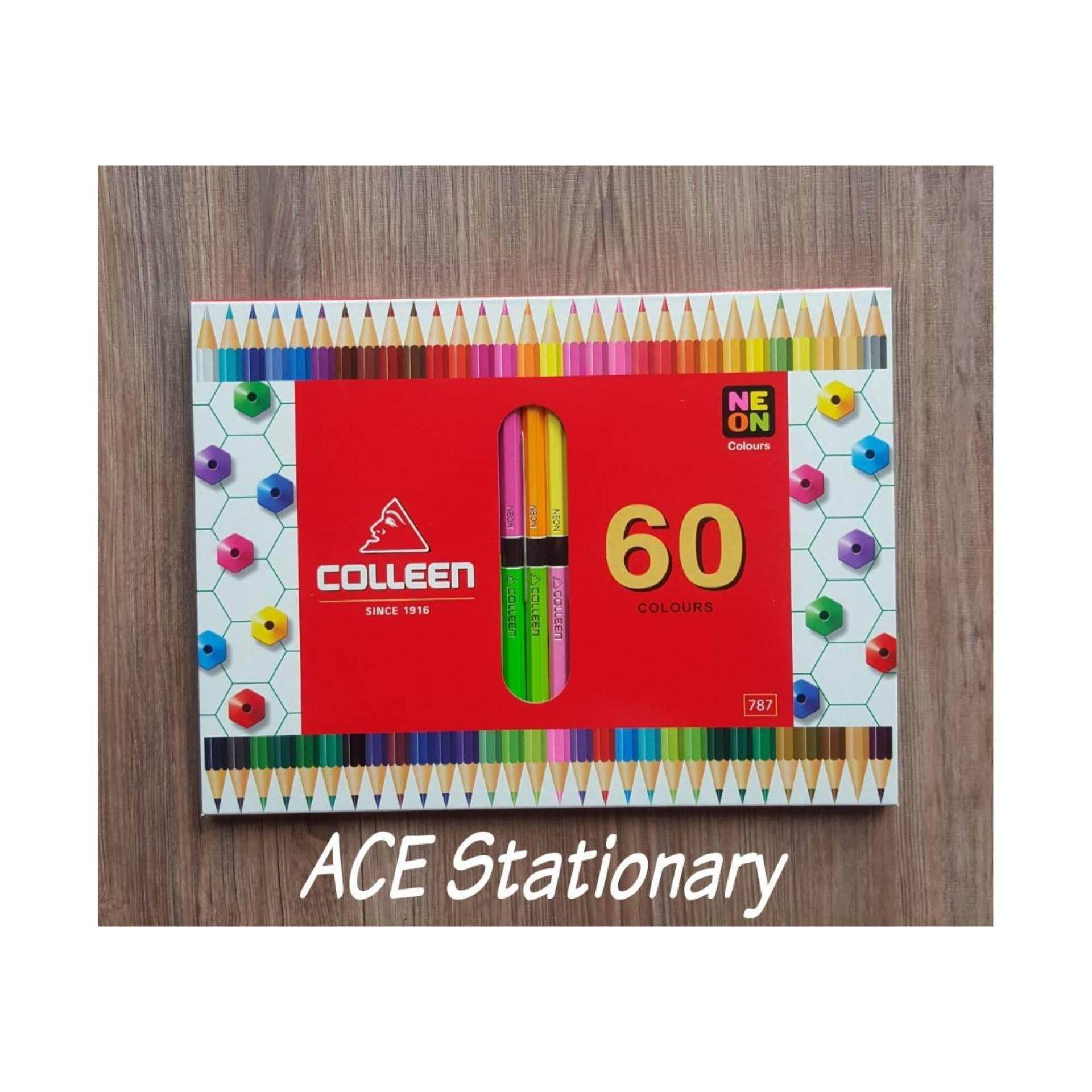 Colleen ดินสอสีไม้ คลอลีน 2 หัว 30แท่ง 60 สี รุ่น787 (สีสะท้อนแสง+สีธรรมมดา).
