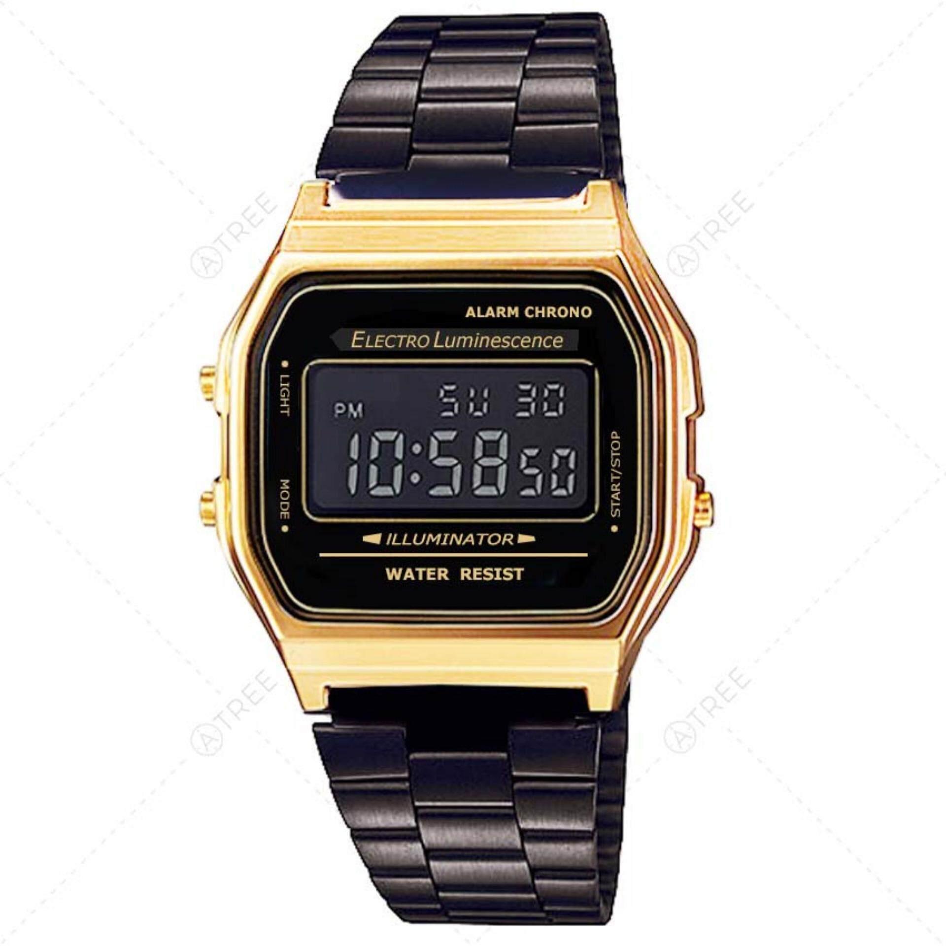 ซื้อ S Watch นาฬิกาข้อมือ สไตล์ Digital Watch Watch ดูวันที่ จับเวลา ตั้งปลุก ได้ สายสแตนเลสสีดำ รุ่น Zd 0041 สีดำ หน้าปัดทอง Black ถูก ใน กรุงเทพมหานคร
