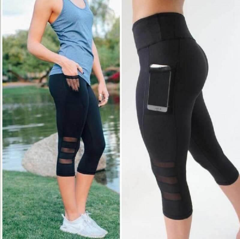 กางเกงออกกำลังกายขาสามส่วนกระเป๋าด้านข้าง P60 By Sport Outfits By Pani.