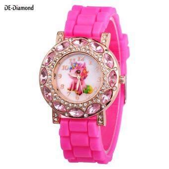 Cheapest today DE Children Girl Wrist Quartz Watch Round Durable Unicorn Pattern Cute Casual Gift ล่าสุด - มีเพียง ฿89.02