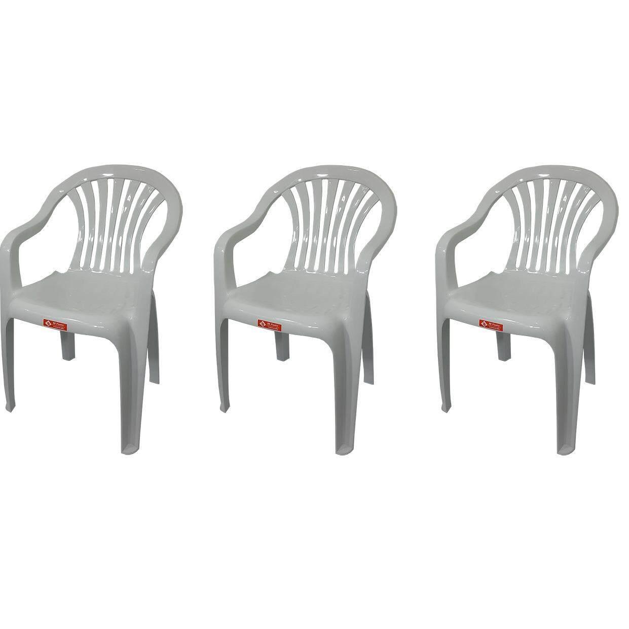 เก้าอี้สนาม มีพนักพิง และ ที่เท้าแขน รุ่น 999 สีขาวอมเทา แพ็ค3ตัว.