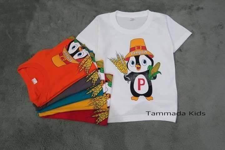 เสื้อยืดเด็ก-ขนาด S M L XL สวมใส่สบายตัว ลาย PENGUIN (ร้านจัดคละสี)( 1ตัว)