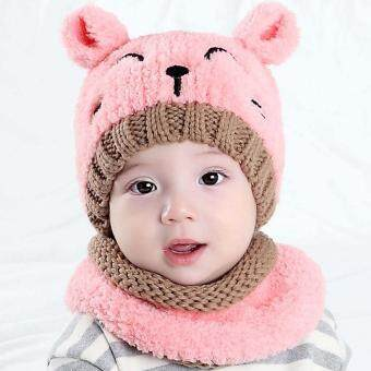 b6099319957cd7 การส่งเสริม 2pcs Baby Infant Cute Winter Warm Soft Cat Knit Beanie Hat Cap  with Circle Scarf for 8-36 Month Toddler Girls Boys ซื้อที่ไหน - มีเพียง  ฿152.67