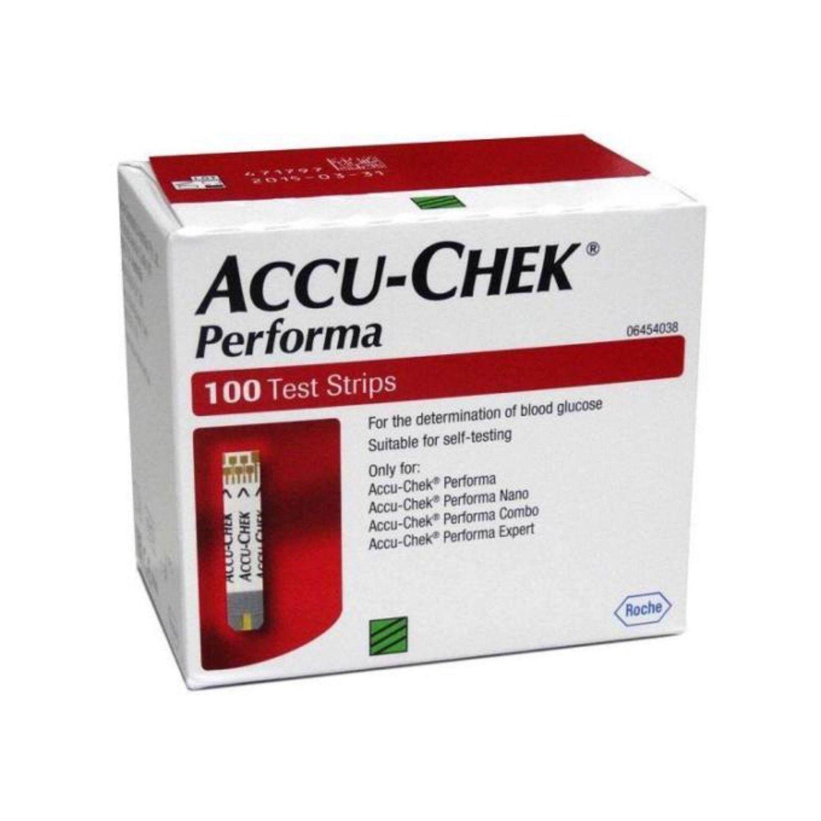 แผ่นตรวจวัดระดับน้ำตาลในเลือด Accu-Chek Performa (ประกันของแท้) / Accu Chek Performa / Test Strip100 แผ่น By Metroriew.