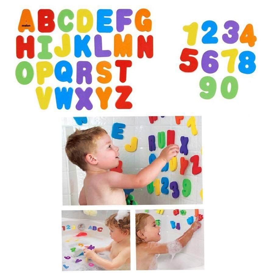 Munchkin ของเล่นเด็กโฟมตัวอักษรและตัวเลขลอยน้ำติดฝาผนังได้.