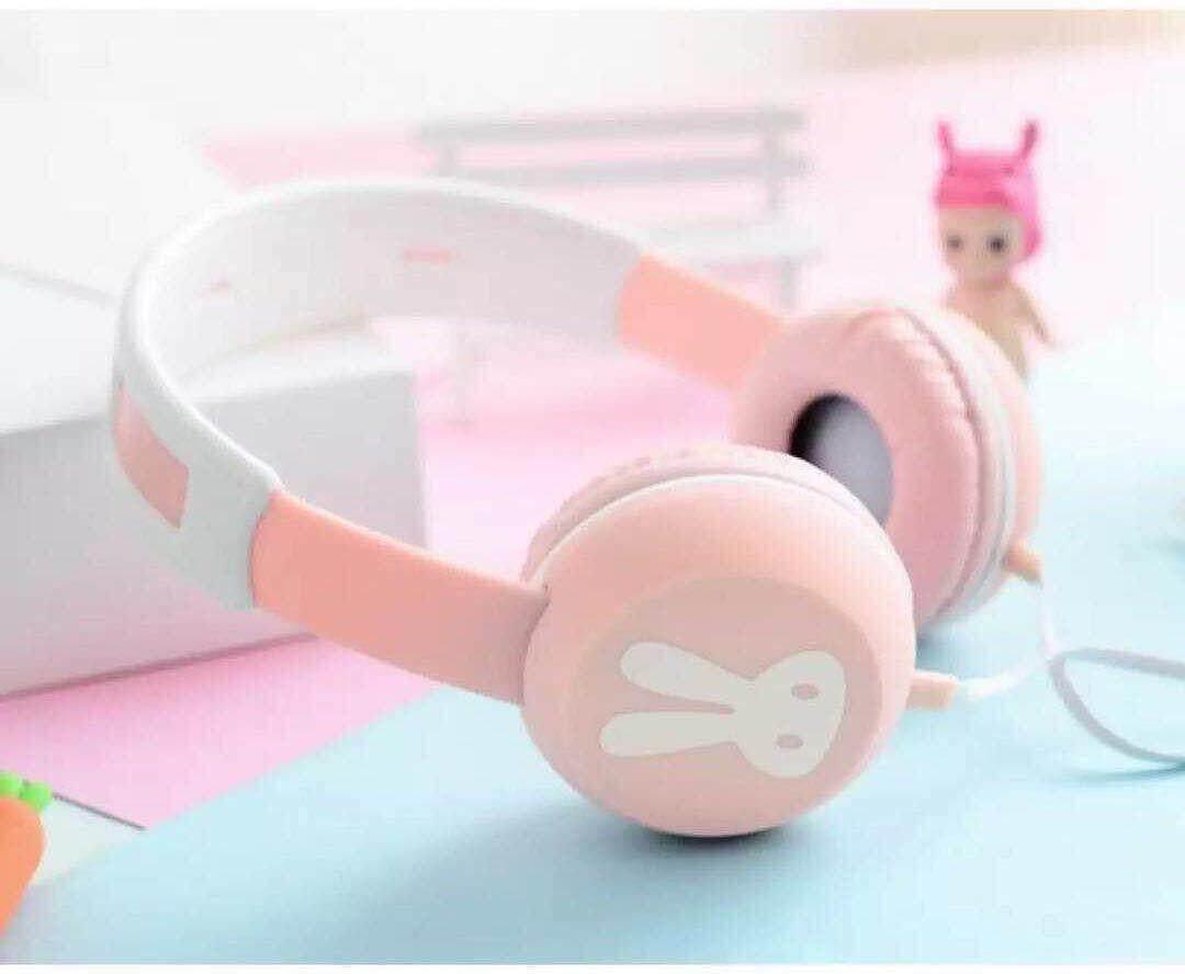 Headphone กระต่าย น่ารัก มีไมโครโฟน รับโทรศัพท์ได้ ใช้ฟัง Mp3 ฟังเพลงได้ รุ่น Ex-02.