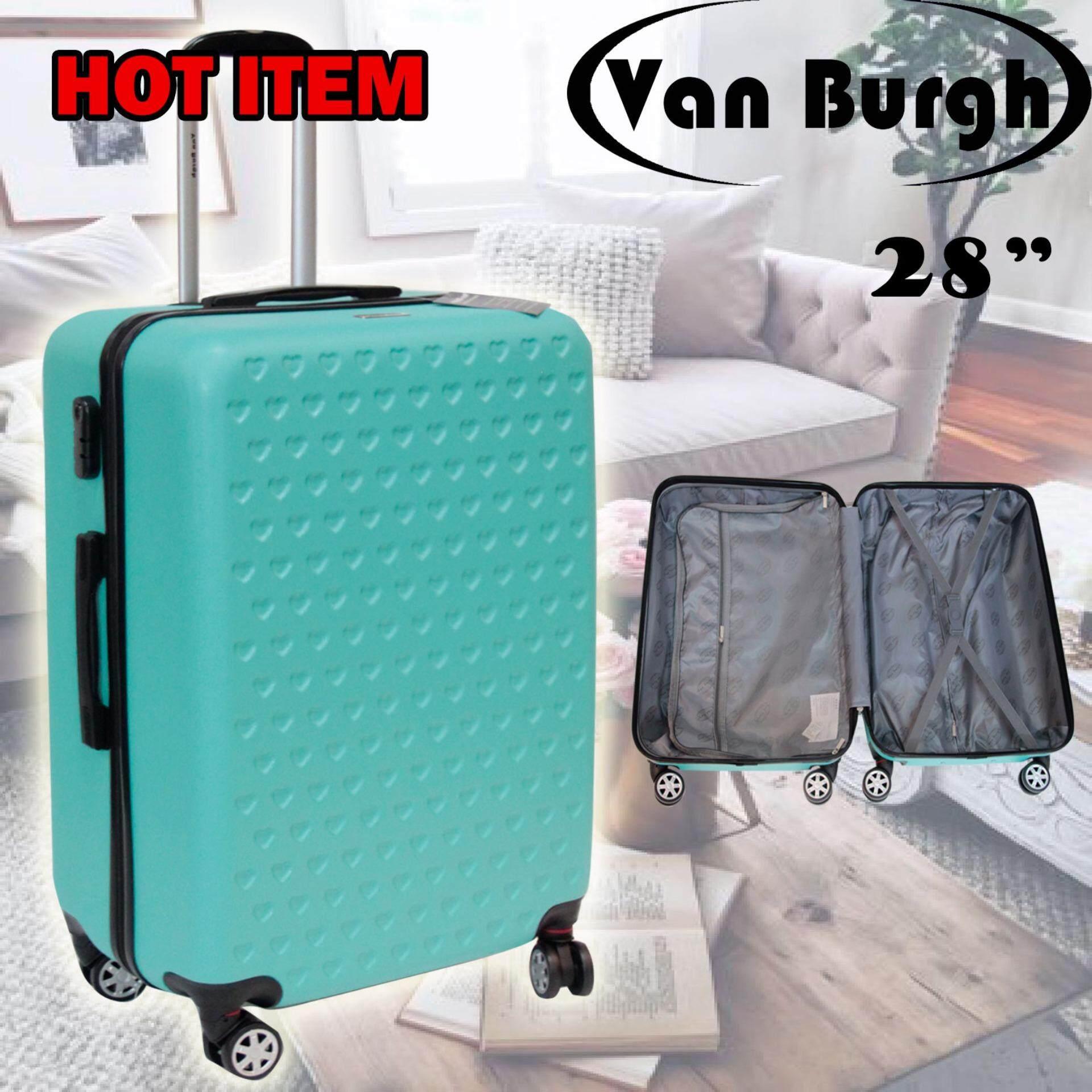 Van Burgh กระเป๋าเดินทาง 28 นิ้ว ล้อลาก 4 ล้อ รุ่น 1601 สีเเขียวลายหัวใจ เป็นต้นฉบับ