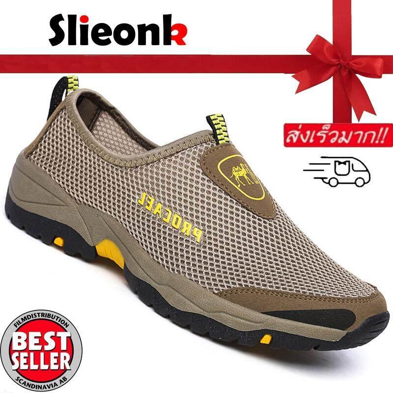 Slieonk ขนาดพลัสอียู 39-46 แฟชั่นรองเท้าผ้าใบของชายมุ้งเลื่อนโปรแกรมเสริมรองเท้าเดิน รองเท้าโลฟเฟอร์และรองเท้าแบบสวม ผู้ชายรองเท้าระบายอากาศได้ By Slieonk.