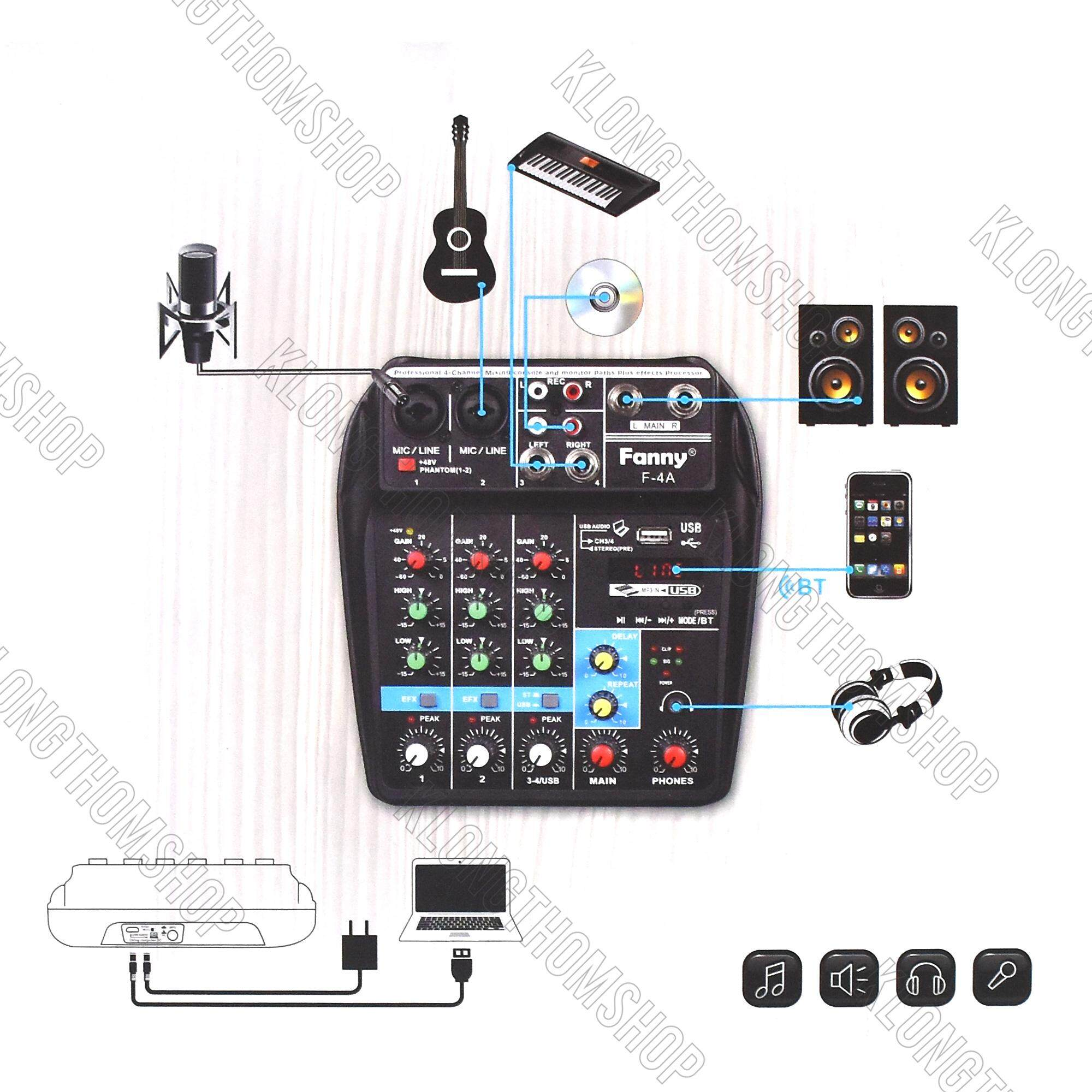 Fanny F-4a มิกซ์เซอร์ 4 แชลแนล Dj สตูดิโอ Karaoke Live สด Gaming ควบคุมซาวด์ Sound เชื่อมต่อกับคอม Pc โน๊ตบุ๊ค เป็นซาวน์ อินเตอร์เฟช Usb Sound Card Interface เครื่องเสียง ภายใน กลางแจ้ง อีเวนต์ Event งานวัด Dj  หรือ Vj เกมมิ่ง Studio.