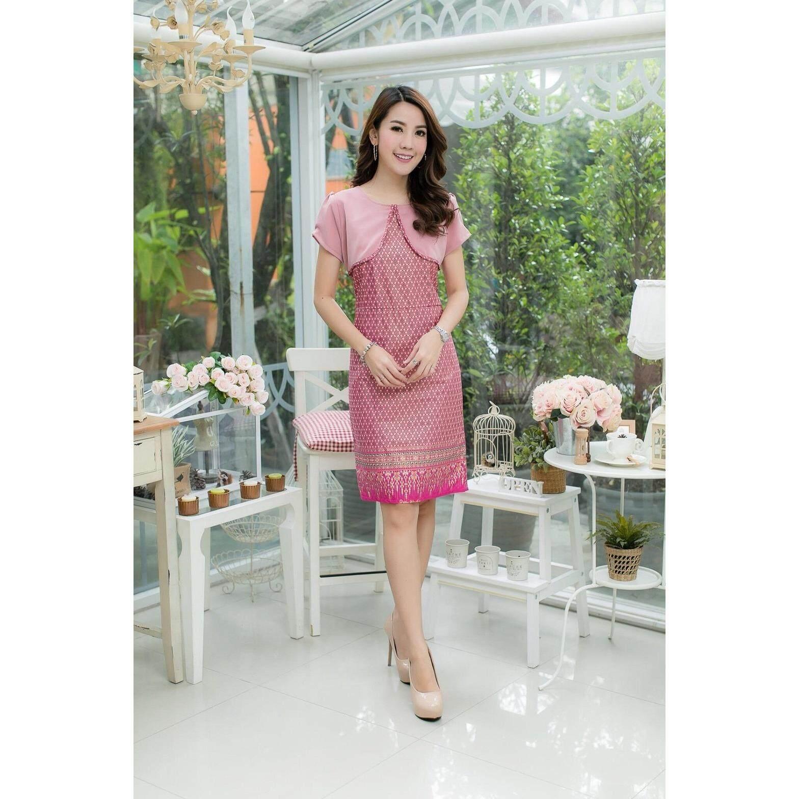 ราคา เดรสผ้าไทยแต่งกั๊ก สีชมพู เป็นต้นฉบับ
