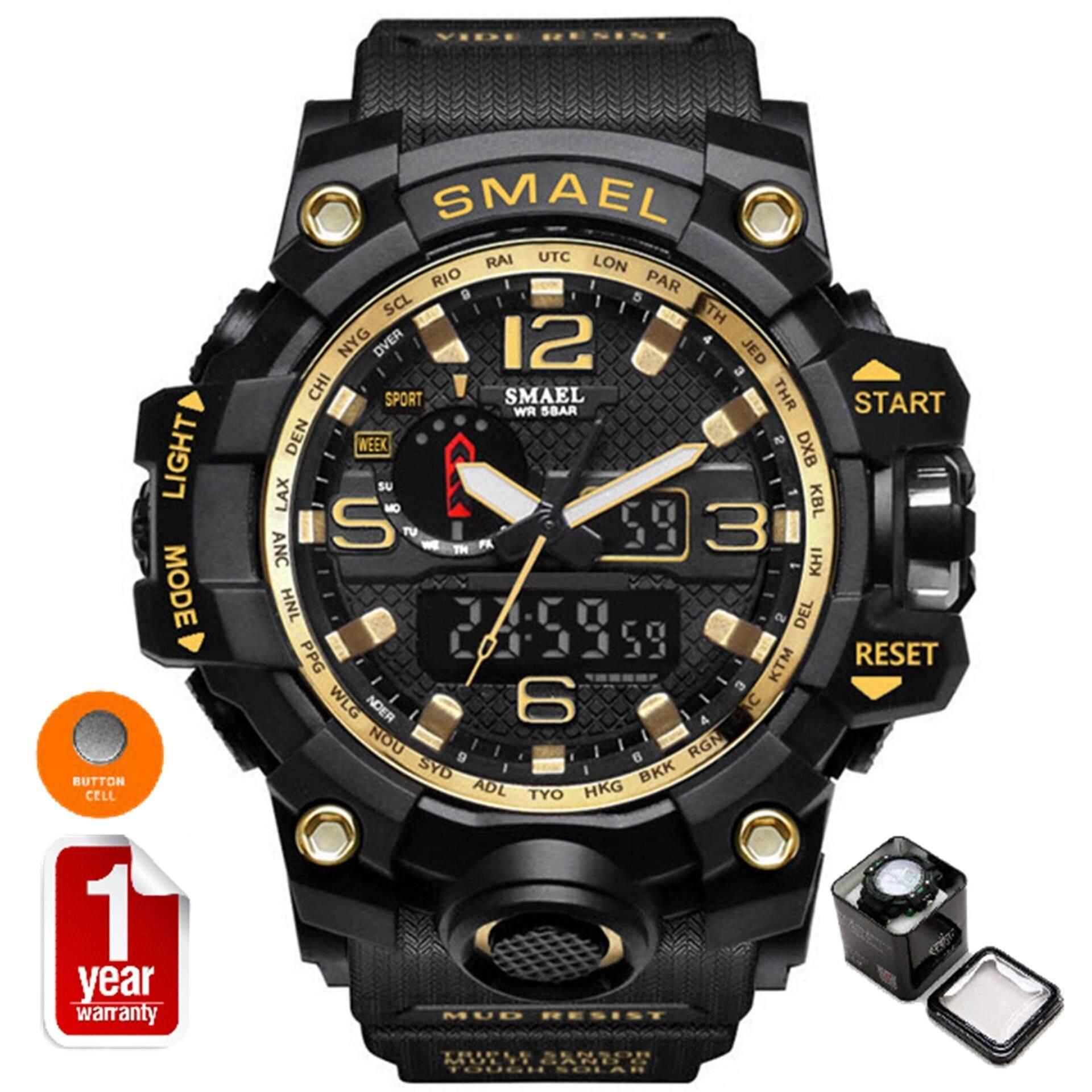Smael นาฬิกาข้อมือผู้ชาย Sport Digital Led รุ่น Sm1545 (black/yellow).