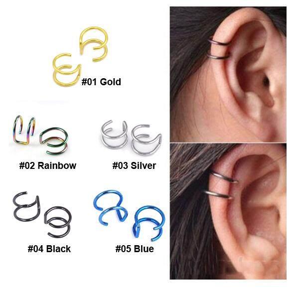 ต่างหู ไม่ต้องเจาะหู ตุ้มหู จิว Unk Rock Ear Clip Cuff Wrap Earrings No Piercing-Clip Hollow Out U Pattern Statement Jewelry - 1 ข้าง By 50 Shop.
