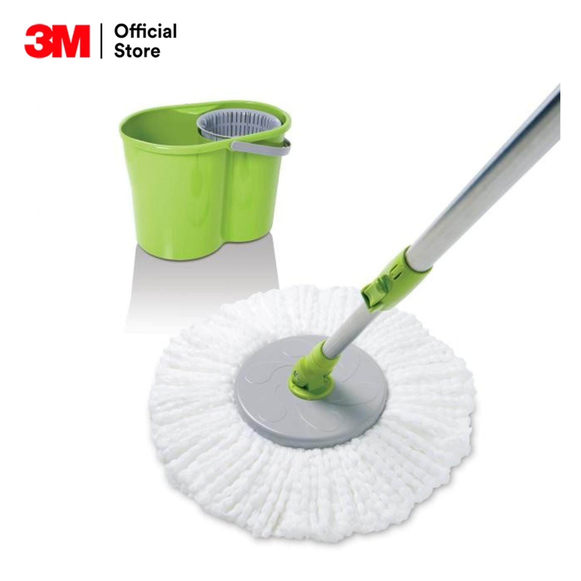 Scotch-Brite Microfiber Mop With Spin Bucket สก๊อตช์-ไบรต์® ชุดไม้ถูพื้นไมโครไฟเบอร์พร้อมถังปั่นแห้ง.